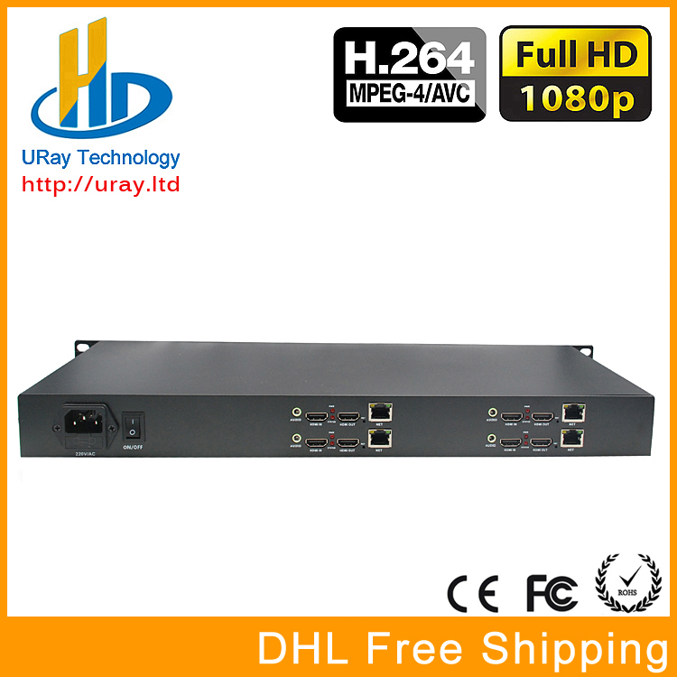 DHL Free Shipping 1U Rack 4 Channels HDMI Video Audio Streaming Encoder H.264 IPTV With HTTP /RTSP /RTMP /UDP Protocol