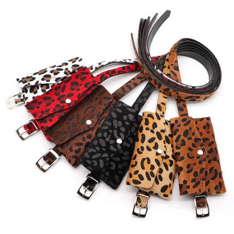 Jiessie & Angela Leopardo Mulheres Saco Da Cintura Bloco de Fanny Correia Da Forma Da Senhora Do Vintage Saco de Viagem Pacote de Cintura Carteira pacote de Cintura de Couro bolsa