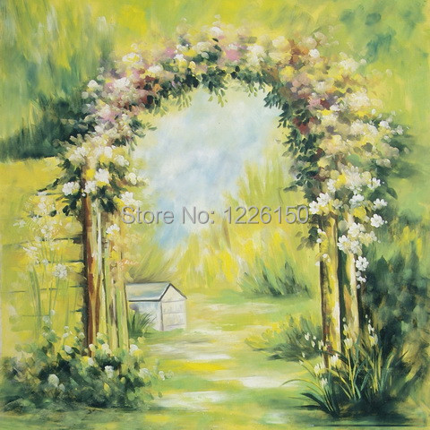 Фото New Professional10ft x 10ft wedding hand painted scenery background backdrop FSE8 ,photo studio backdrop,photo background muslin