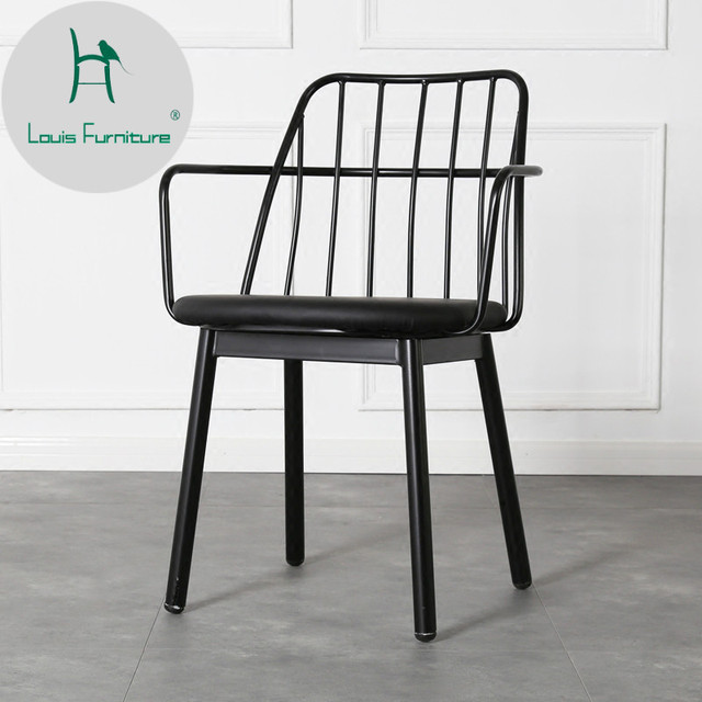 Louis Fashion Cafe Chairs Nordic Iron Art Metal Dining Modern Simple Personality Creative American European Style