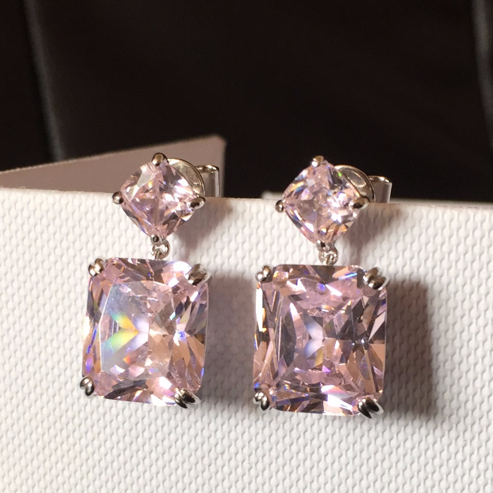 New Crystal CZ Dangle Yellow Pink White Earrings for Women Wedding Party Bridal Accessories Long Plated Holiday Jewelry in Drop Earrings from Jewelry Accessories