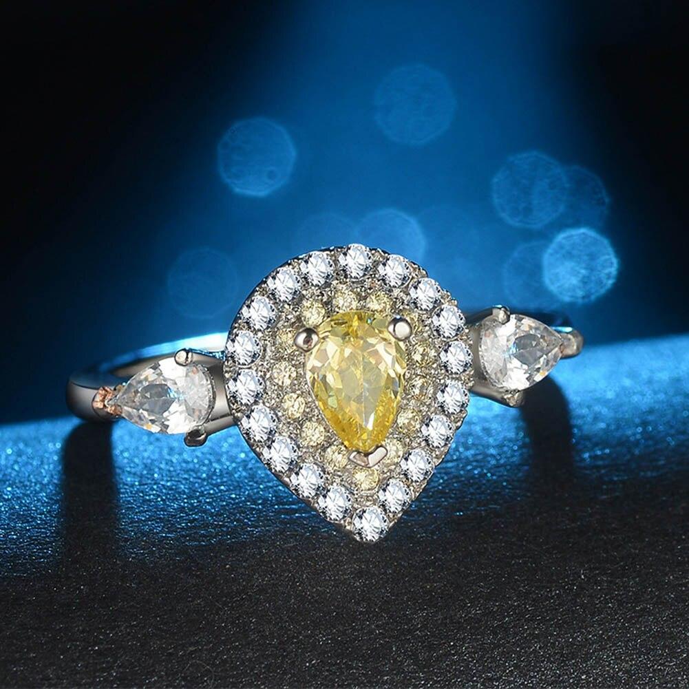 Новый 2018 удивительные Дизайн груша Форма розовый Обручение кольцо best Обещание любви подарок для девочки американский размер 5-10