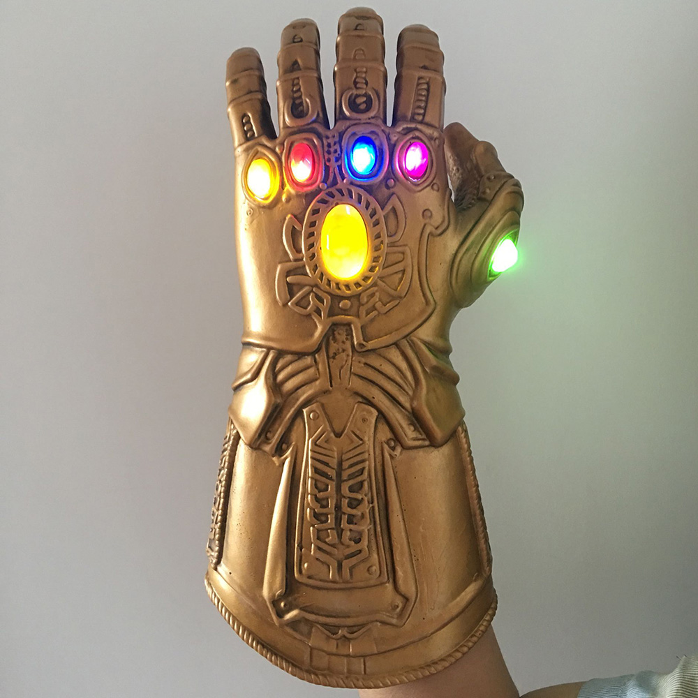 2019 LED Flash Light Up Thanos Infinity Gauntlet Cosplay Glove Superhero Avengers Led Halloween Party Latex Thanos Glove Prop