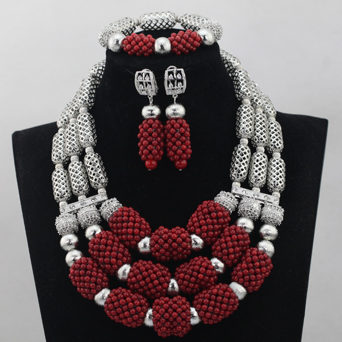 Online Shop 2017 Hotest Wine Red Coral Beads Bridal Jewelry Set ...