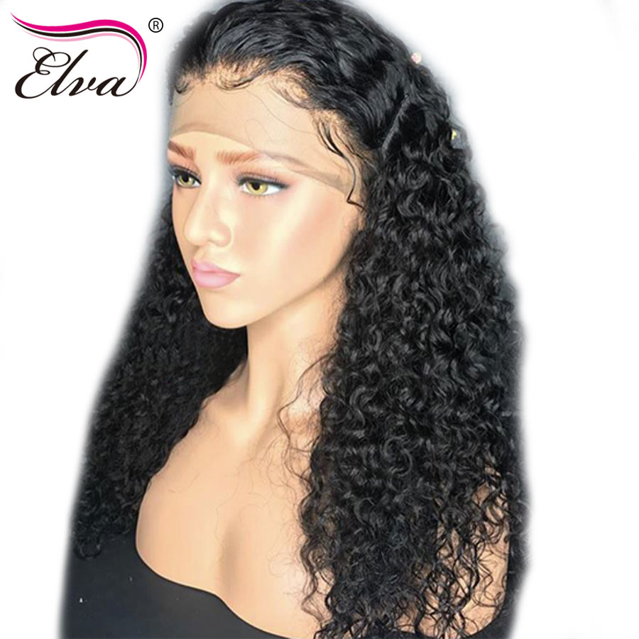 Elva Hair 180% Density 360 Lace Frontal Wig Brazilian Remy Hair Curly Lace Front Human Hair Wigs Pre Plucked With Bleached Knots