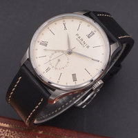 Parnis 42mm watch  off white dial calendar  parnis mechanical automatic men watch  Seagull 1690 Movement PN608|movement mechanism|movement watch men|movement watch -