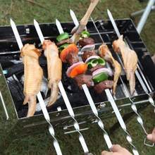 Новые 10 шт нержавеющая сталь барбекю иглы кухонные инструменты барбекю гриль из нержавеющей стали кебаб плоские шампуры иглы