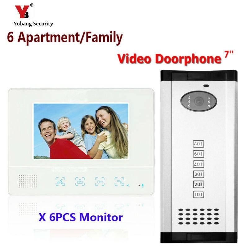 Yobang Security Freeship 7 Video Intercom Doorbell Apartment Door Phone 6 Monitors IR Camera for Video