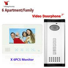 Yobang Security Freeship 7″ Video Intercom Doorbell Apartment Door Phone+6 Monitors IR Camera for Video Intercom Doorbell phone