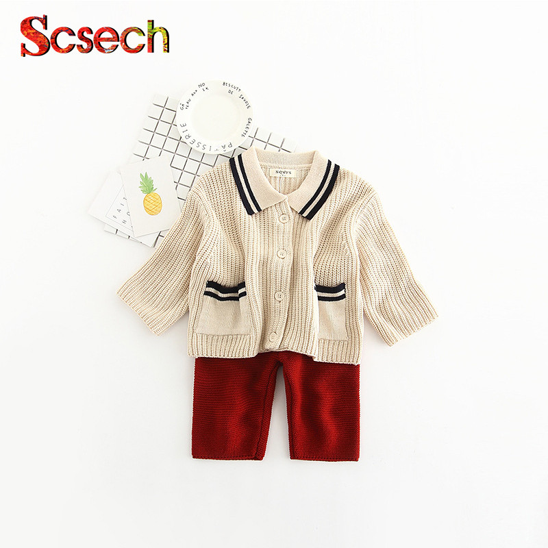2Pcs/Set Autumn Spring Baby Clothing Sets Cotton Casual Infant Suits Children's knitted cardigan baby girls boys Suits SKB143 2016 baby boy sets new style autumn spring baby clothing sets 2pc suits red plaid dark blue blazer infant set boys suits blazers