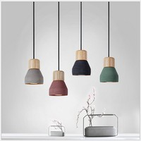 Nordic American Countryside Style Cement Pendant Light E27 Socket Droplight Wood Lampholder Indoor Decoration Hanging Lamp cover