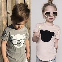 цены на Summer Kids Boys T Shirt Bear Print Short Sleeve Baby Girls T-shirts Cotton Children's T-shirt O-neck Tee Tops Boy Clothes  в интернет-магазинах