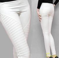 New 2016 Summer Women Fold Pencil Pants Fashion Skinny Pants White Slim Fit Trousers Plus Size