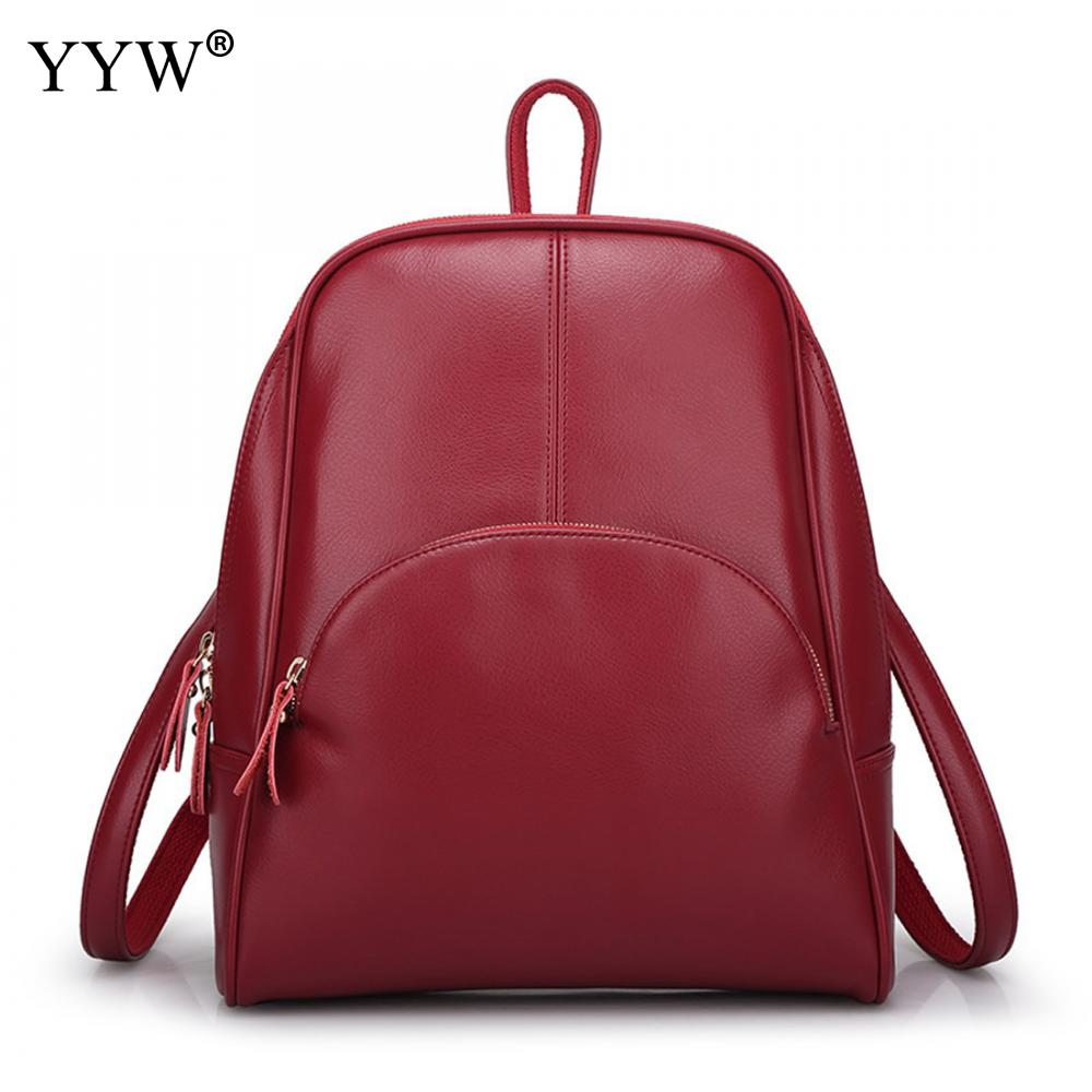 YYW Women PU Leather Fashion Backpack Zipper Design Solid Red Casual Shoulder Bags Travel 5 Colors Female Backpacks fashion rivet zipper solid women pu leather lady backpack multi function mini bagpack backpacks hb25 32
