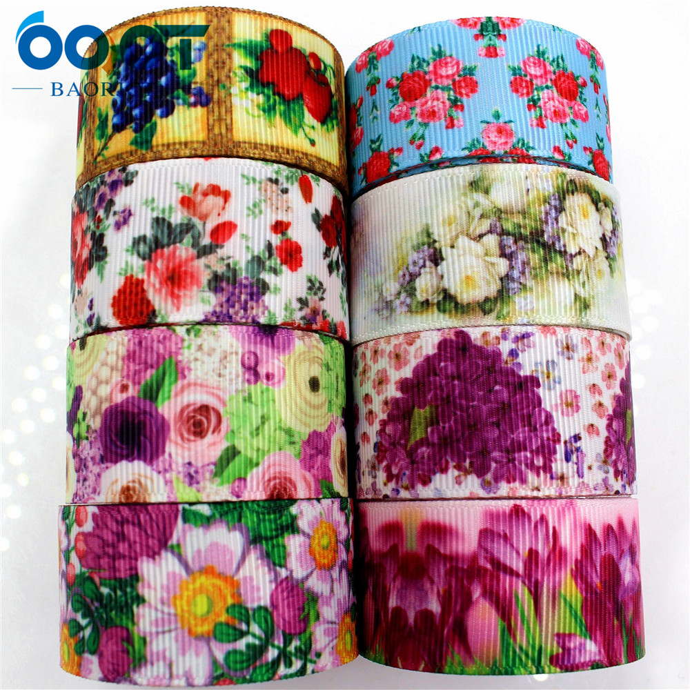 OOOT BAORJCT 175161 1 39 39 25MM flowers Printed grosgrain ribbon DIY handmade hair accessories accessories gifts wedding party in Ribbons from Home amp Garden