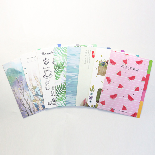 Domikee new cute PP 6 holes spiral notebooks index dividers set