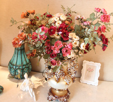 ФОТО single orchid rose flower head artificial flowers bouquet decoration shopping mall home living room bedroom crafts fake flowers