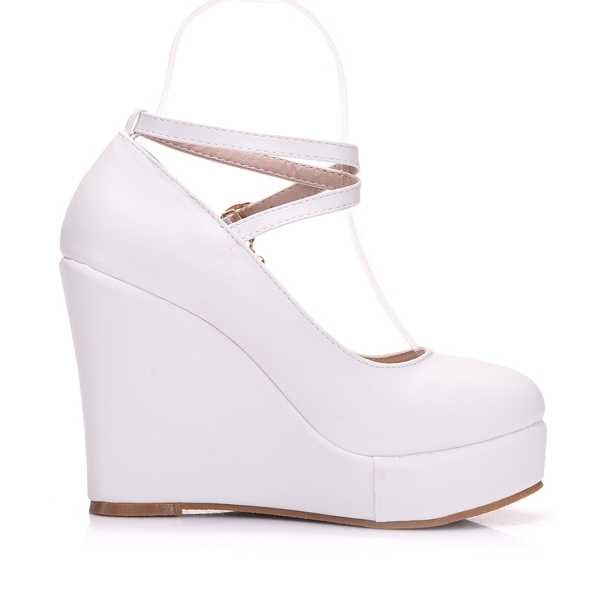 Image 4 - Crystal Queen White Platform Wedges Shoes Pumps Women High Heels Platform Shoes Round Toe Wedges Pumps Cross Tie Wedges Heels-in Women's Pumps from Shoes