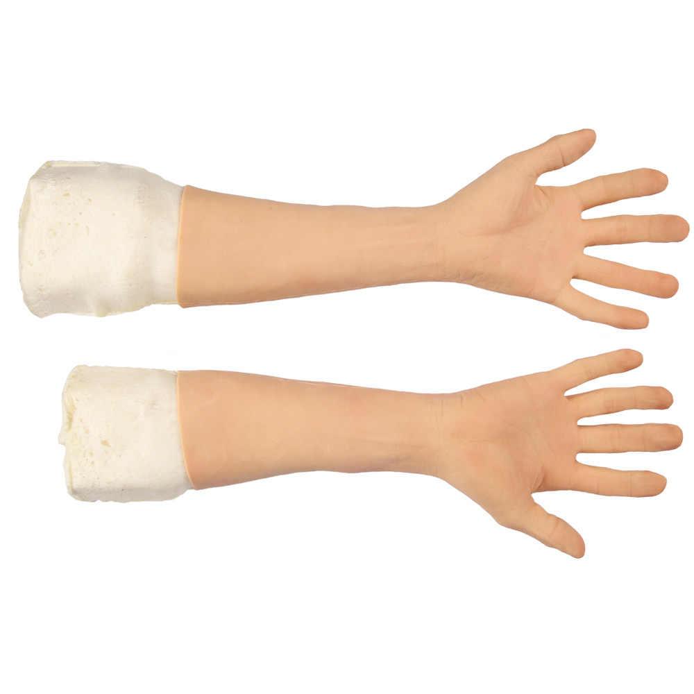 Hoch Simulierte Haut Künstliche Silikon Hand Handschuh Abdeckung Narben Gefälschte Silikon Hand Prothese Für Hand Verletzungen Crossdresser