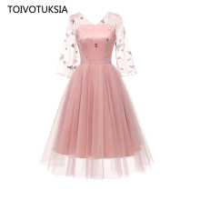 TOIVOTUKSIA Women Plus Size Embroidery Lace Dress S-XXL Chiffon Half Sleeves High Waist Ball Grown