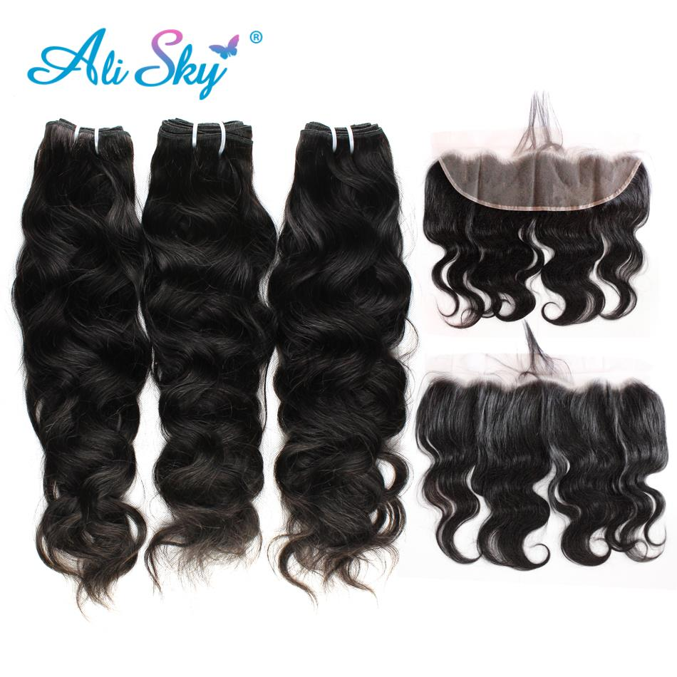 Alisky Hair Brazilian Remy Natural Wave With Frontal Closure 3 Bundles With 13*4 Free Part Ear To Ear Lace Frontal Pre Plucked