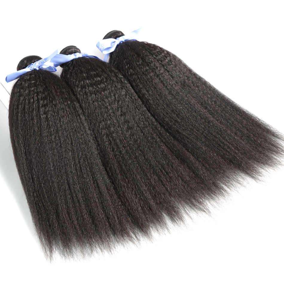 Cabello ILARIA grueso Yaki cabello virgen malayo 2 paquetes extensiones de cabello humano 100% cabello Remy tejido de Color Natural de calidad superior