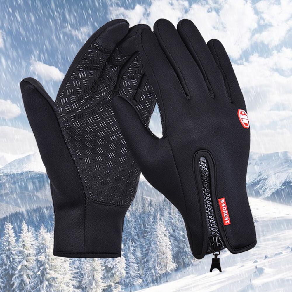 Ourdoor Sport Windstopper Gloves Black Motorcycle Full Finger Cycling Black Skiing Gloves Winter Warm Men Women Gloves