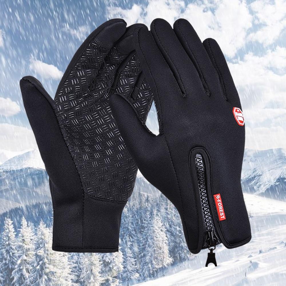 Ourdoor Sport Windstopper Gloves Black Motorcycle Full Finger Cycling Black Skiing Gloves Winter Warm Men Women Gloves