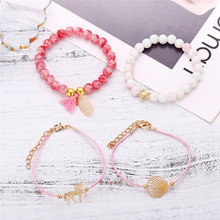 Bohemian Shell Map Turtle Unicorn Pineapple Bracelet Set Retro Beads Bangles Statement Female Glamour Fashion Jewelry