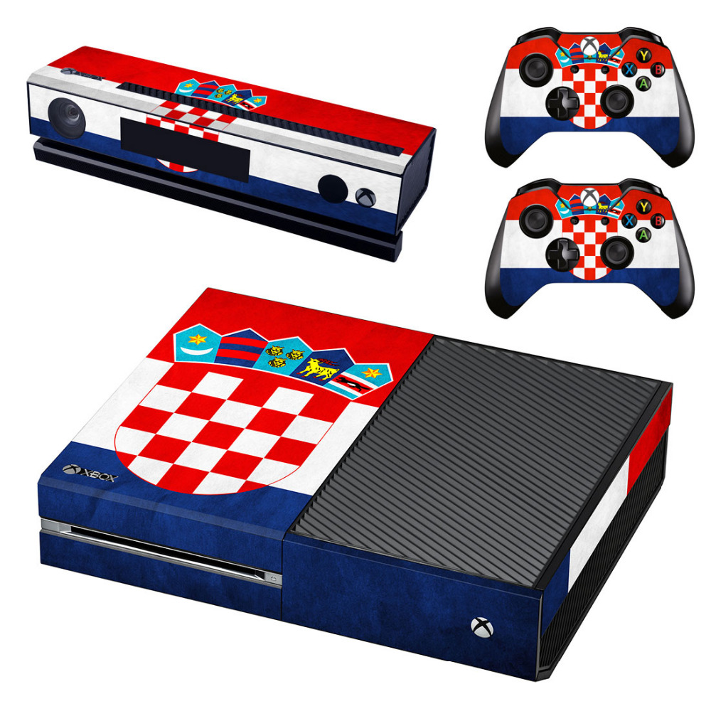 Croatia National Flag Decal Skin Sticker for Microsoft Xbox One Kinect and Console and 2 Controllers Vinyl Game Stickers