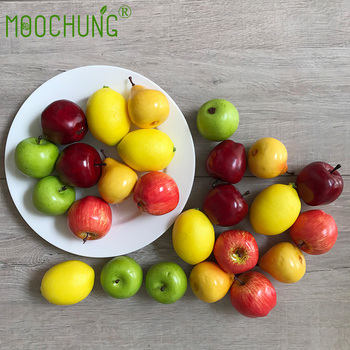 moochung top quality mini fruit atificial apple lemon pears for home