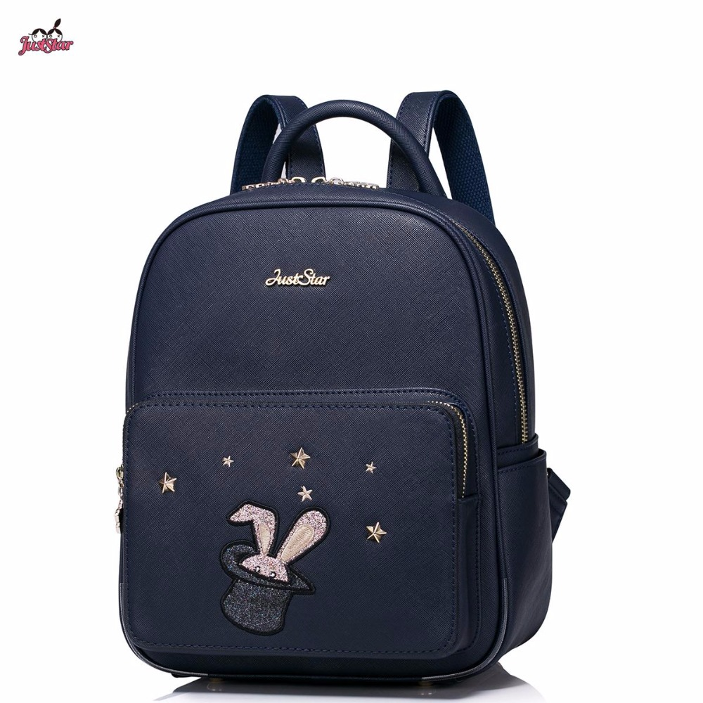 Just Star Brand Design Sequin Magic Bunny Embroidery Rivets PU Women Leather Ladies Girls Backpack Shoulders School Travel Bags 2017 new brand ballet girl embroidery drawstring pu women leather ladies backpack shoulders school travel bags student daypack