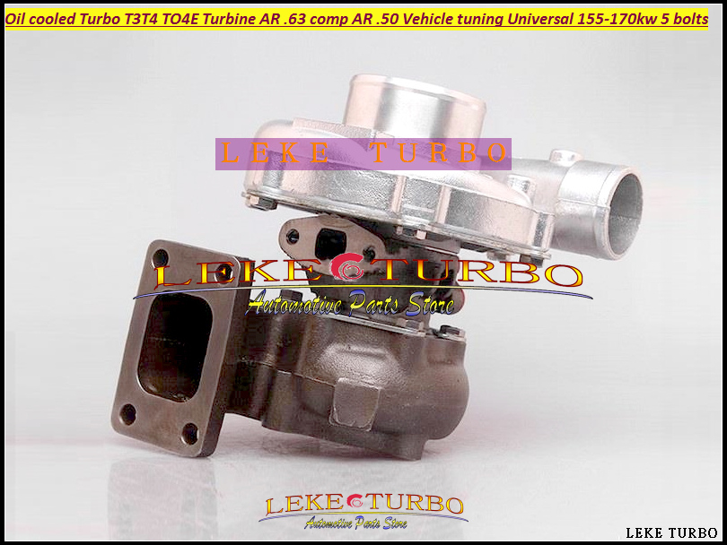 Turbo T3T4 T3 T4 T3/T4 TO4E Turbine A/R .63 comp A/R .50 Oil cooled Turbocharger For Vehicle tuning Universal 155-170kw 5 bolts