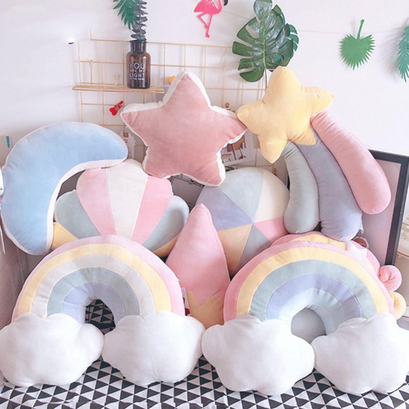 Cilected Multicolor Rainbow Cloud Pillow Living Room Bedroom Sofa Bed Cushion Office Cute Napping Pillow Stars Plush Toy Gift