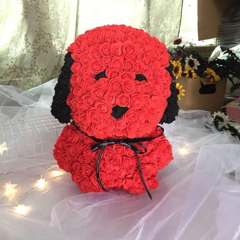 Personnalisé fait à la main qixi cadeau chiot PE mousse rose carlin immortel fleur cadeau boîte pour la saint-valentin livraison gratuite - 6