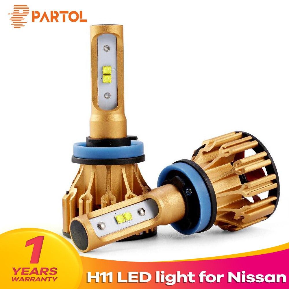 Partol T6 H11 Car LED Headlight Bulbs Hi Lo Beam 70W 7000LM SMD Automobile Headlamp Front Lights 6500K For Nissan TEANA SYLPHY