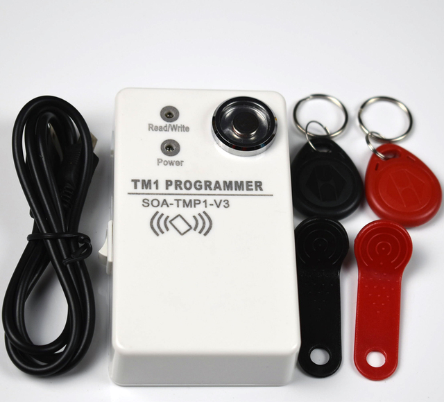 Copieur et lecteur RFID, 125Khz, DS1990A TM iputton, 2 pièces de carte vierge RW1990, 2 pièces de keyfoks 125kz EM4305