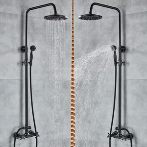Image 5 - Shinesia antika/siyah bronz banyo duş seti mikser musluk çift kolları sıcak ve soğuk su duvara monte duş sistemi