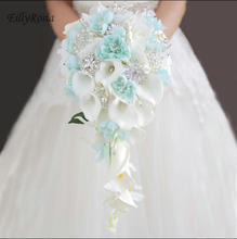 Wedding Bouquets Holder Blue Waterfall White Calla Lily Crystals Bridal Bouquet for Bridesmaid Corsage Brooch bouquet de mariage
