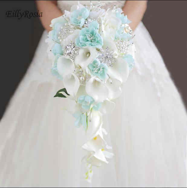 Wedding Bouquets Holder Blue Waterfall White Calla Lily Crystals