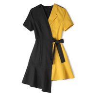 Women Summer Fashion Dress 2019 New Black Yellow Patchwork Short Sleeve Dresses Sashes Asymmetrical Dress Woman Vestidos