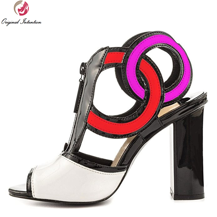 Original Intention Cool Women Sandals Open Toe Square Heel Sandals Green Yellow Red Multicolors Shoes Woman Plus US Size 4-15 original intention fashion women sandals open toe square heels sandals black red purple rose pink shoes woman plus us size 4 15