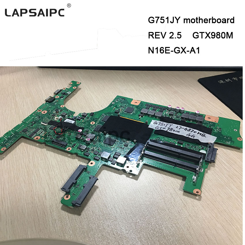 2pcs/lot G751JY GTX980M motherboard For ASUS mainboard REV 2.5 N16E GX A1 graphics card i7 cpu 60NB06F0 MB1900 GTX980M mainboard