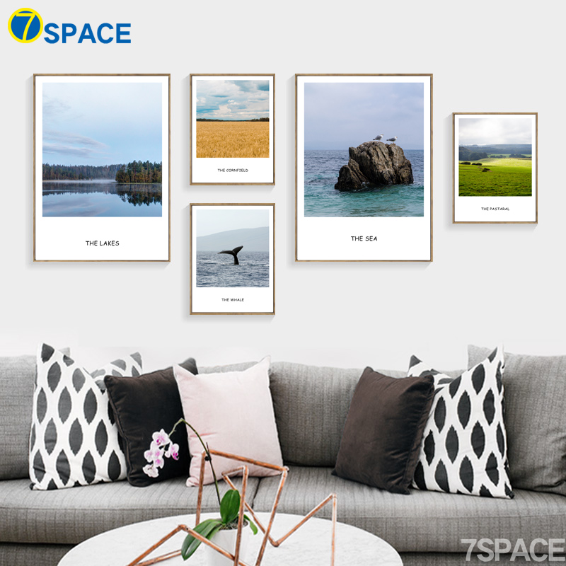 7-Space Nordic Poster Fields Lake Sea Landscape Canvas Painting Wall Pictures For Living Room Posters And Prints Wall Art Decor