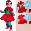 2015 New Fashion Girls Long Sleeve Spider-Man Clothing Set Tutu Ball Gown Dress +Long Legging Pants Suits S1155