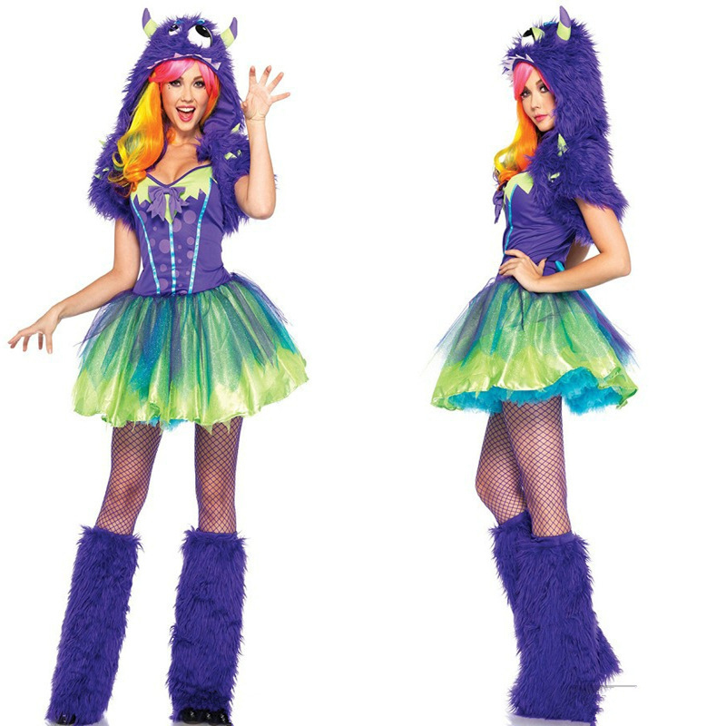 Invierno de la alta calidad trajes de carnaval mujeres Cosplay Sexy vellosidades malla monstruo vestido de