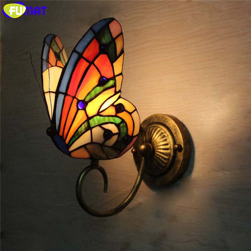 fumat tiffany wall lamp butterfly stained glass shade wall sconces lights fixtures led e26 e27 bedside luminaria mirror light