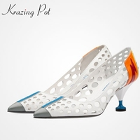 2017 Fashion Brand Shoes Strange High Heels Stiletto Pointed Toe Women Pumps Slip On Cow Leather
