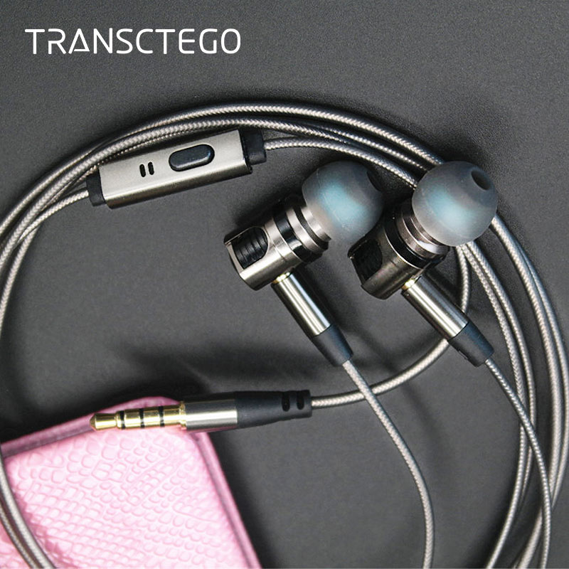 TRANSCTEGO earphones and headphone with microphone In-Ear metal plug wire headset detachable removable headsets fashion professional in ear earphones light blue black 3 5mm plug 120cm cable
