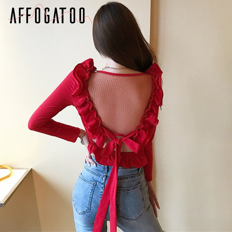Affogatoo Elegant ruffle backless women   blouse   Sexy v neck peplum transparent red summer   blouse     shirt   Vintage ladies tops female